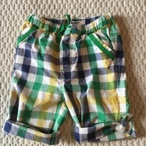 Baby Boden Roll-up Pants Shorts Checkered Plaid